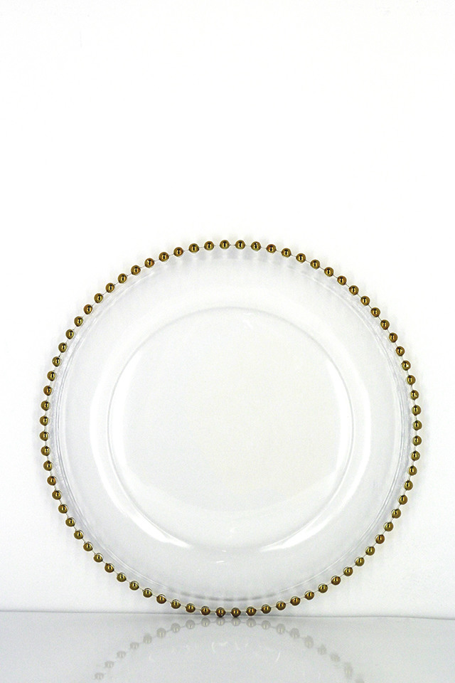 Metallic Bead Glass Charger Plate, Mirrored Charger Plates Bulk