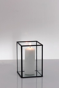 Metal Frame Glass Candle Box Holstens